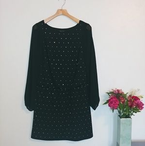 WHBM sheer sleeve mini dress
